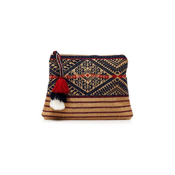 Star Mela Lexa Jute Clutch ($75) ❤ liked on Polyvore featuring bags, handbags, clutches, multi, multicolor handbags, colorful purses, tassel purse, jute handbags and embroidered handbag