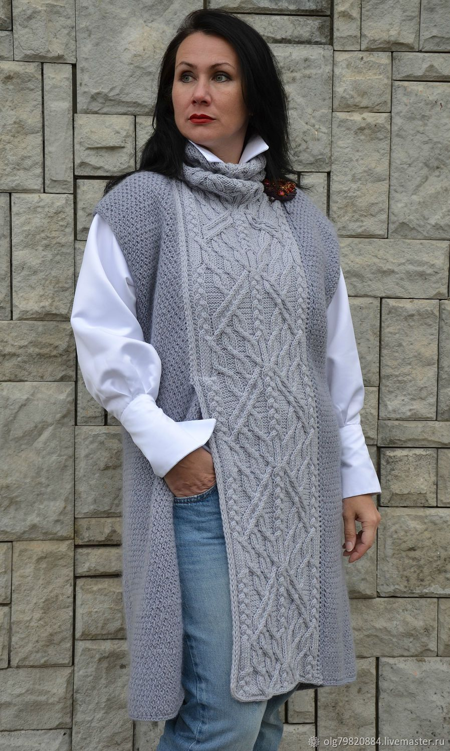 0830bcf1cd58 Вязаная длинная безрукавка-платье из шерсти