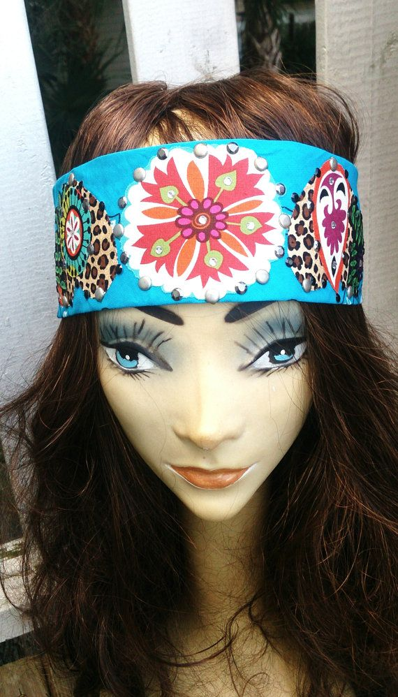 COWGIRL BLUE BLING BANDANA Headband Western by SecretStashBoutique on Etsy c8299fc9ee0