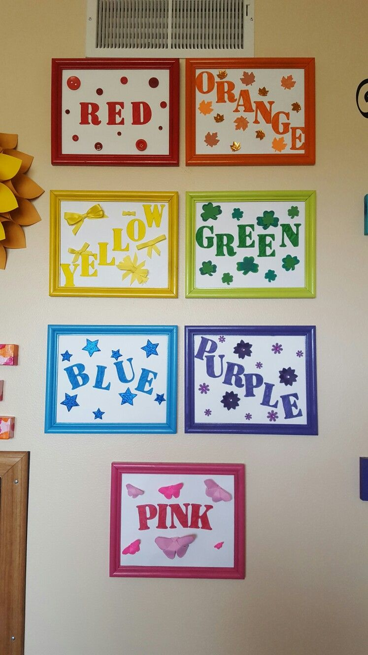 Colors: made from 8x10 pic frames, card stock paper, stencils, glue gun.