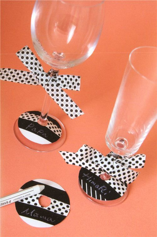Wine Glass Name Tags With Washi Tapes For Parties Party Diy Washi Tape Washi Tape Crafts Diy Wine Glass