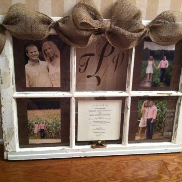 Old Window Transformed Into A Keepsake Wedding Gift By Posh Petites Boutique 50 Email Leann Broome At Lmb0828 Hotmai Window Crafts Old Window Projects Crafts