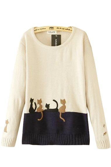 Cute Cats Print O Neck Long Sleeves Pullover Loose Sweater