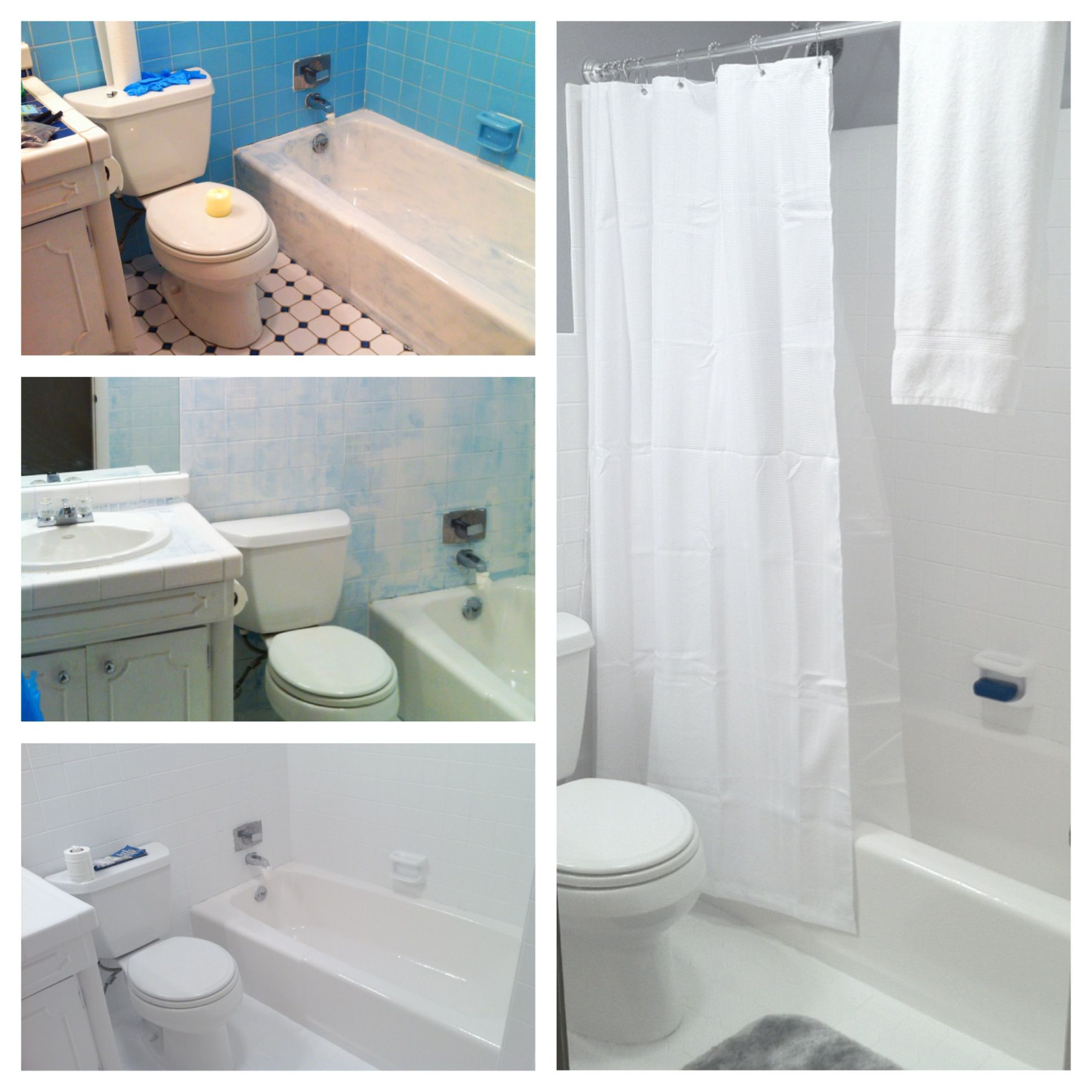 70\'s blue bathroom to clean white, under $150.00. DIY turned into ...