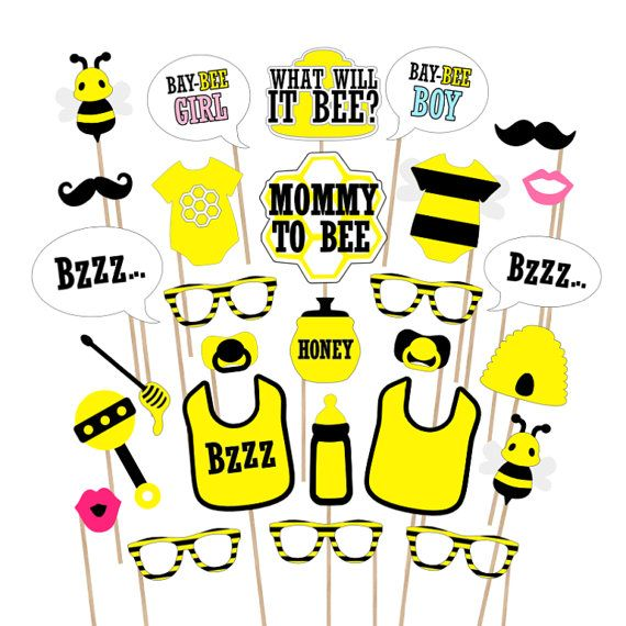 Bee Baby Shower Printable Photo Booth Props By PrintablePropShop