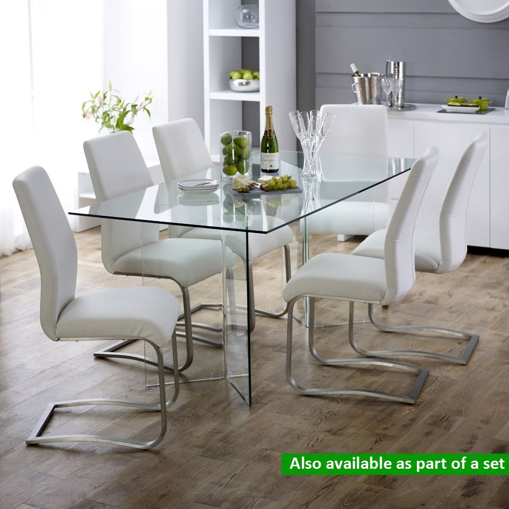 Geo Glass Clear Rectangle 6 Seater Dining Table 6 Seater Dining