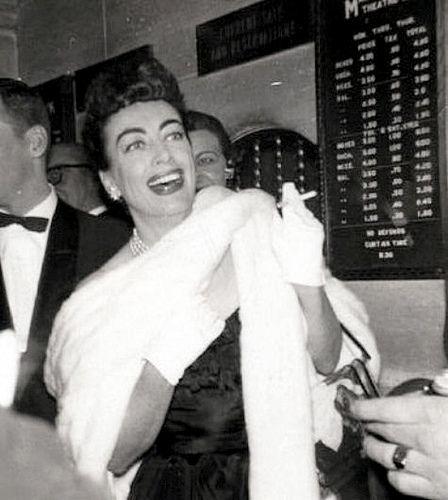Joan Crawford at the opening of Cat on a Hot Tin Roof on Broadway, 24 March 1955