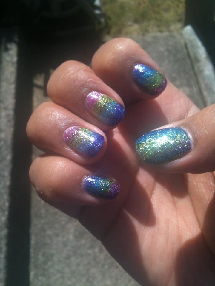 Full #glitter #rainbow #nails . All Sinful Colors glitter polishes ...