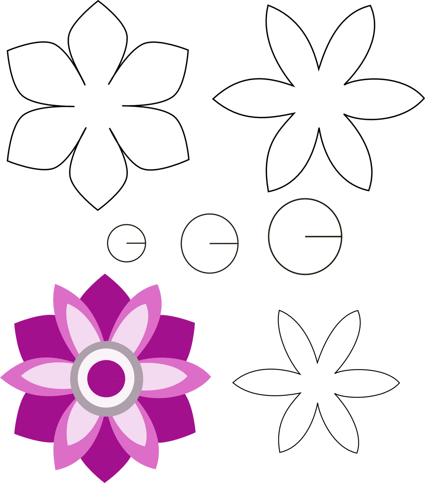 Patrones de flor de fieltro - Imagui | Paper flower kit, Paper flower  patterns, Flower template