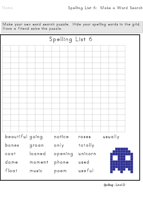 Spelling List 6 Word Search – Create Your Own Spelling Worksheets