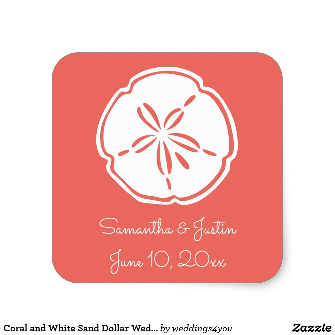 Coral and White Sand Dollar Wedding Square Sticker