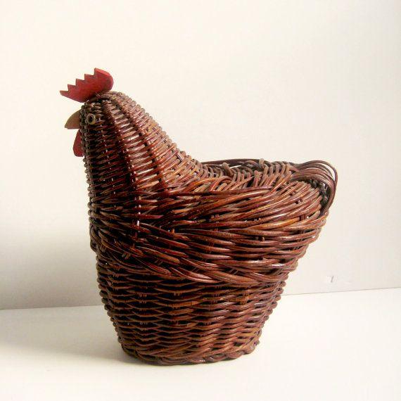 Wood Basket Rooster