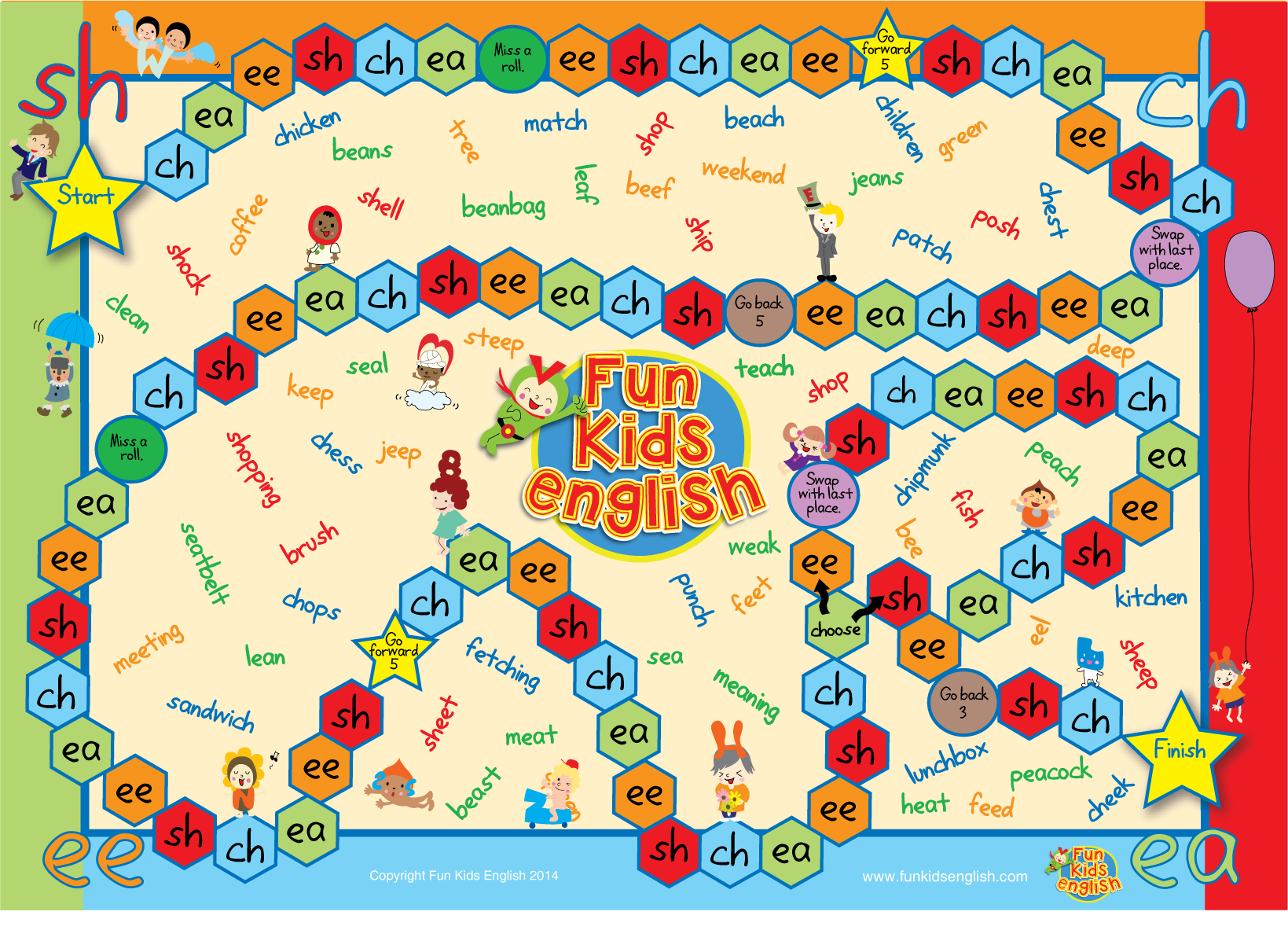 Click Here To Download The Phonics Board Game Board