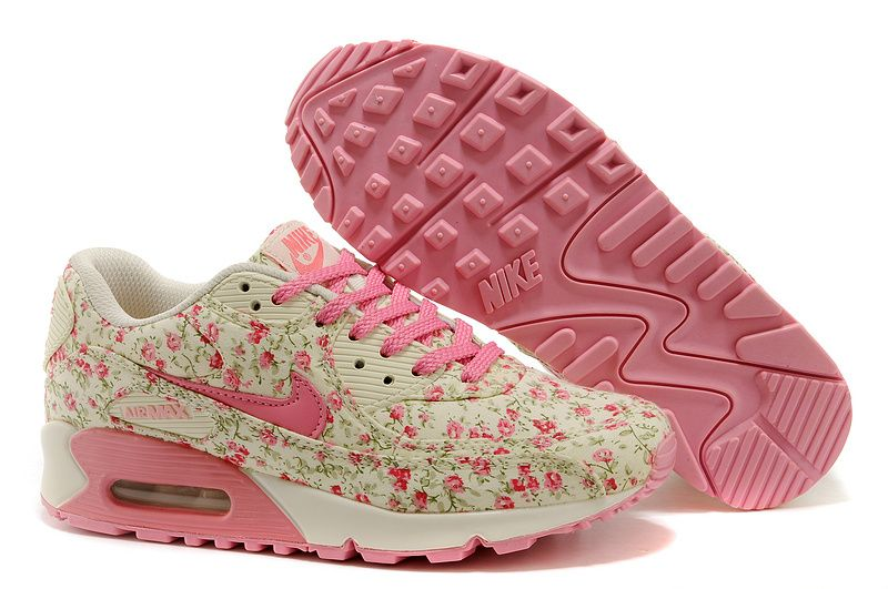 Womens Nike Air Max 90 Peach Floral Sneakers - Click Image to Close