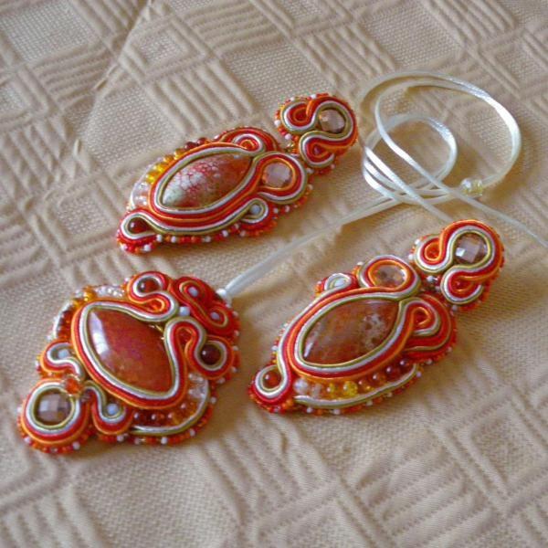 Conjunto soutache con ágata vena de dragón anaranjada - artesanum com