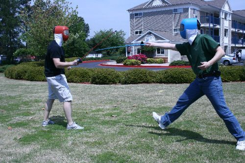 Fencing using the Nasycon Aramis plastic training foils and