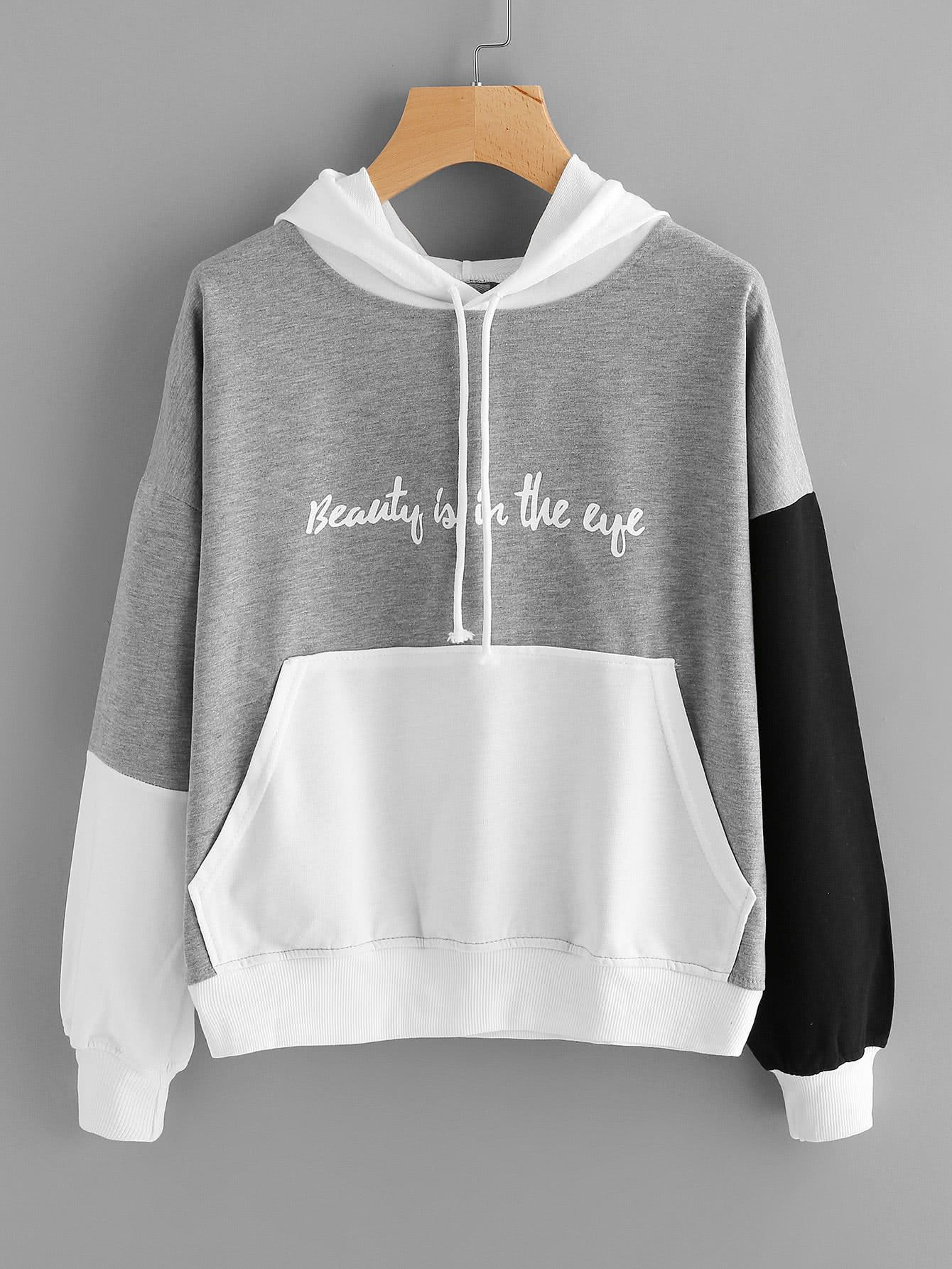 e44e8922b0 Color Block Slogan Print Kangaroo Pocket Hoodie -SheIn(Sheinside ...
