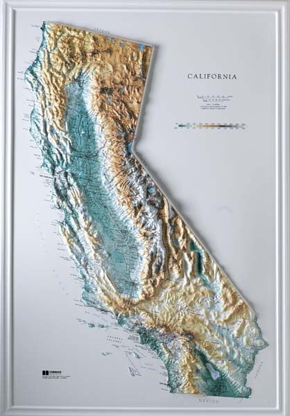 Topographic Maps California For Sale Raised Relief Maps D - Us raised relief topographical map