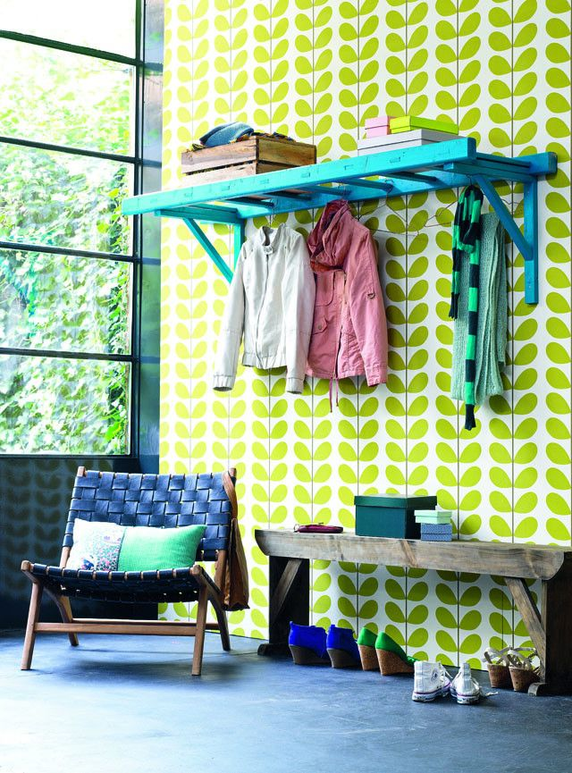 Coat rack from ladder : diy from @ELLE Magazine (US) Bee meijerën D.I.Y. magazine -- Ooh, that wallpaper!