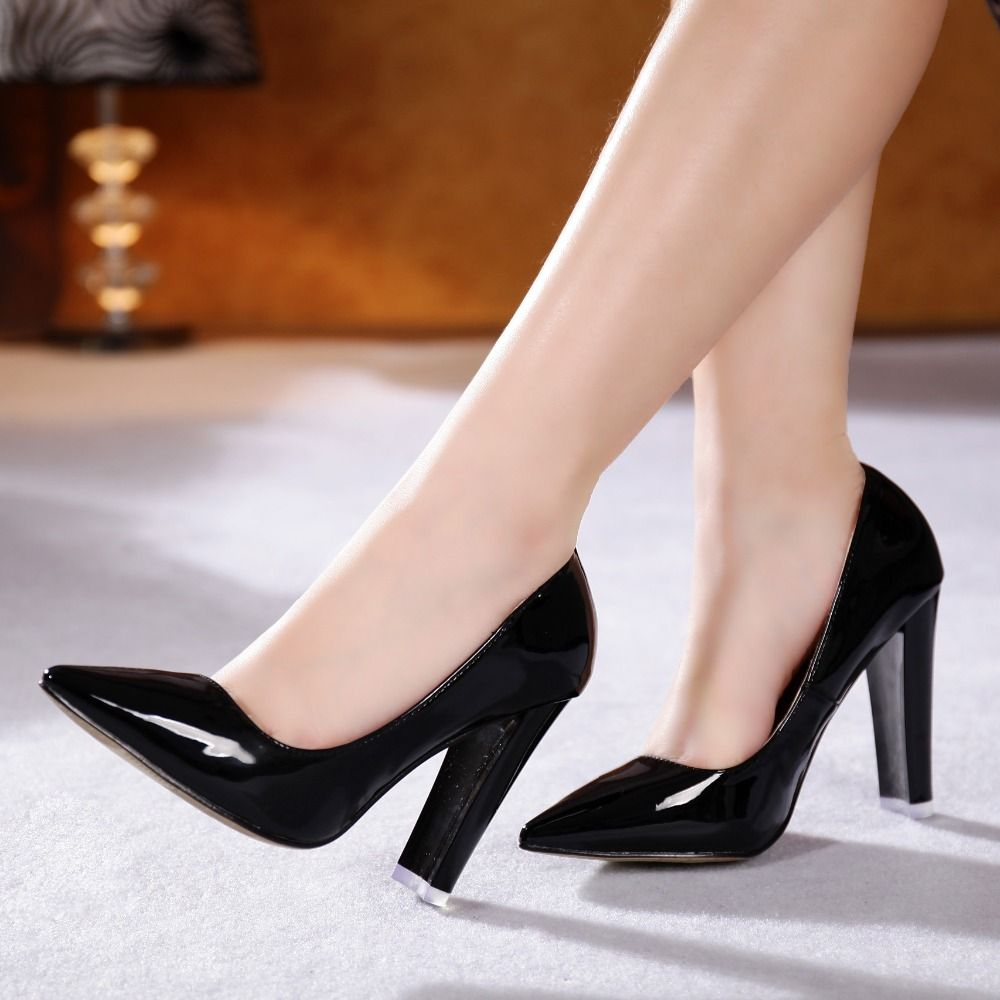 Click to Buy << Women Spring Autumn Elegant Office lady Black Patent Leather.  >>