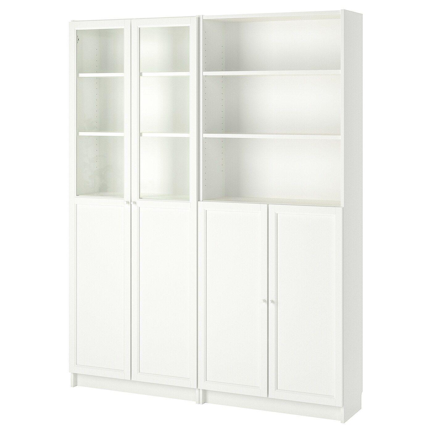 Billy Oxberg Bookcase With Panel Glass Doors White Ikea In 2020 Billy Oxberg Bucherschrank Mit Glasturen Glasschrankturen