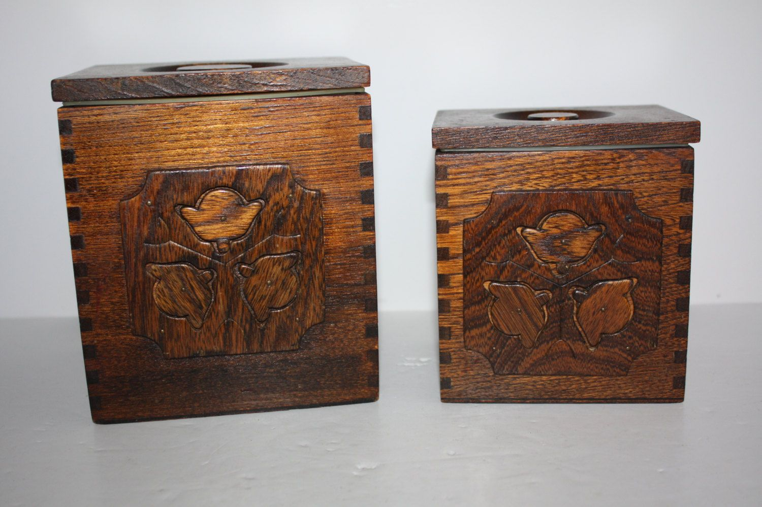 Vintage Sears Wooden Canister Set/Carved Flower Canisters/Wood Retro  Nestingu2026