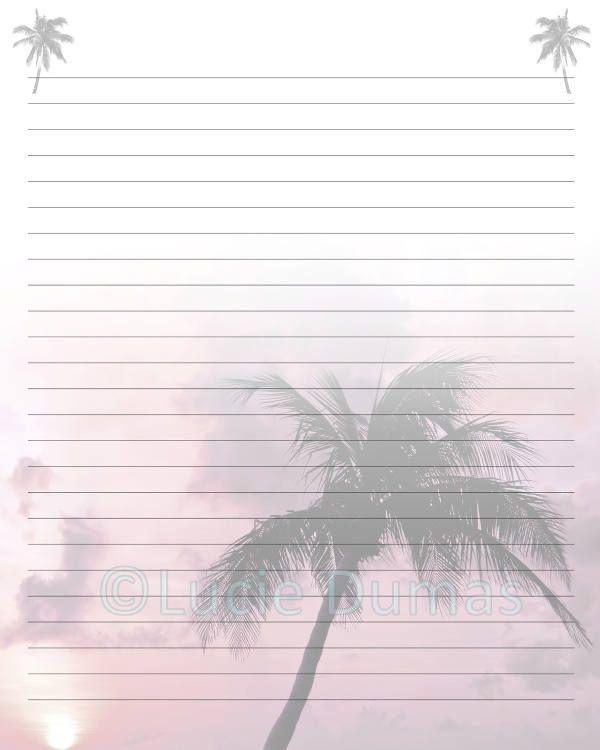 Digital Printable Journal writing lined Page Photo 24 Palm Tree