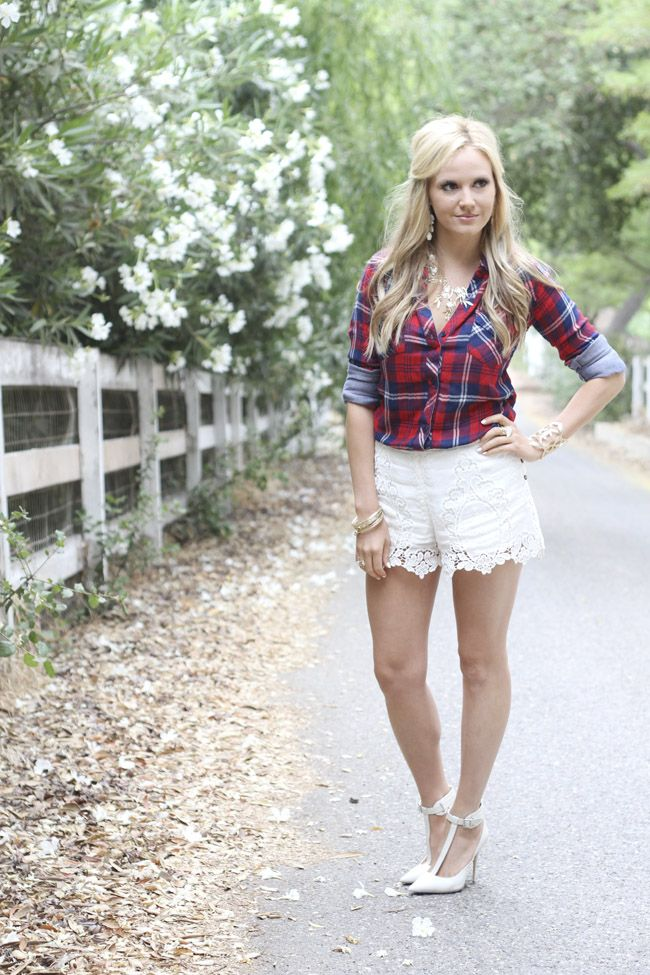 Country Love: Red Plaid & White Lace Shorts | Golden White Décor ...