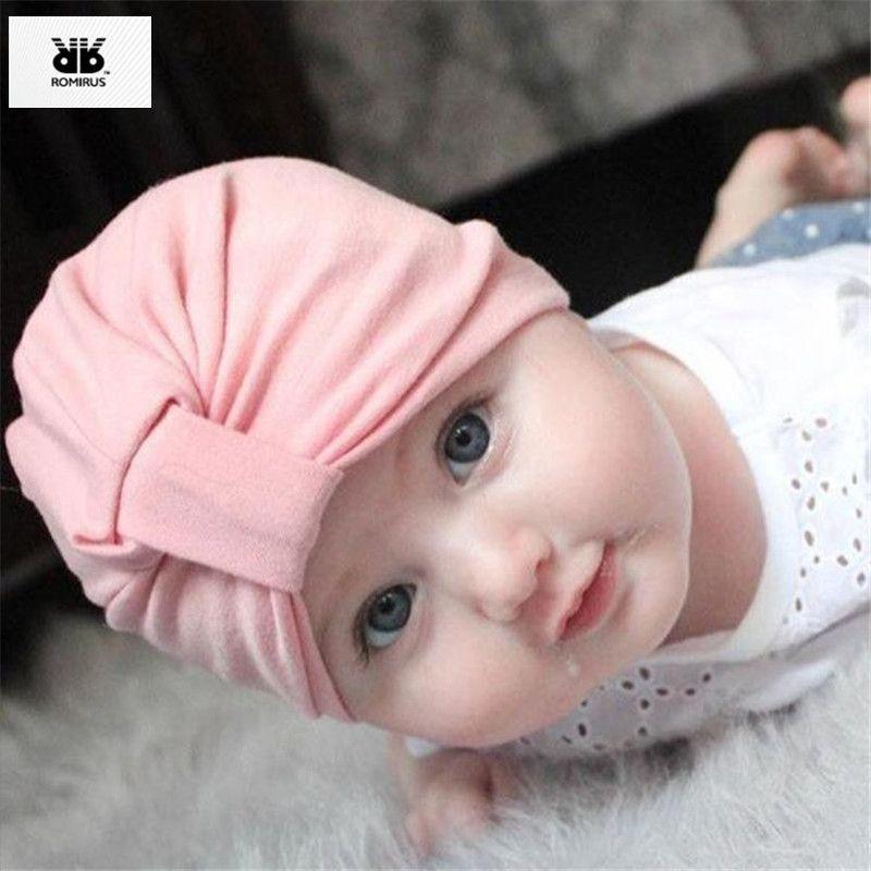 Newborn Toddler Baby Boys Girls Solid Knot Turban Beanie Hat Headwear Caps CA