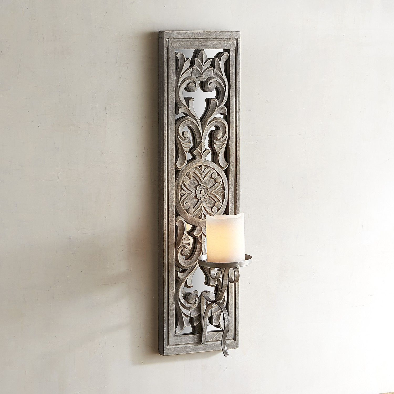 Carved white wood candle holder wall sconce white wood wall