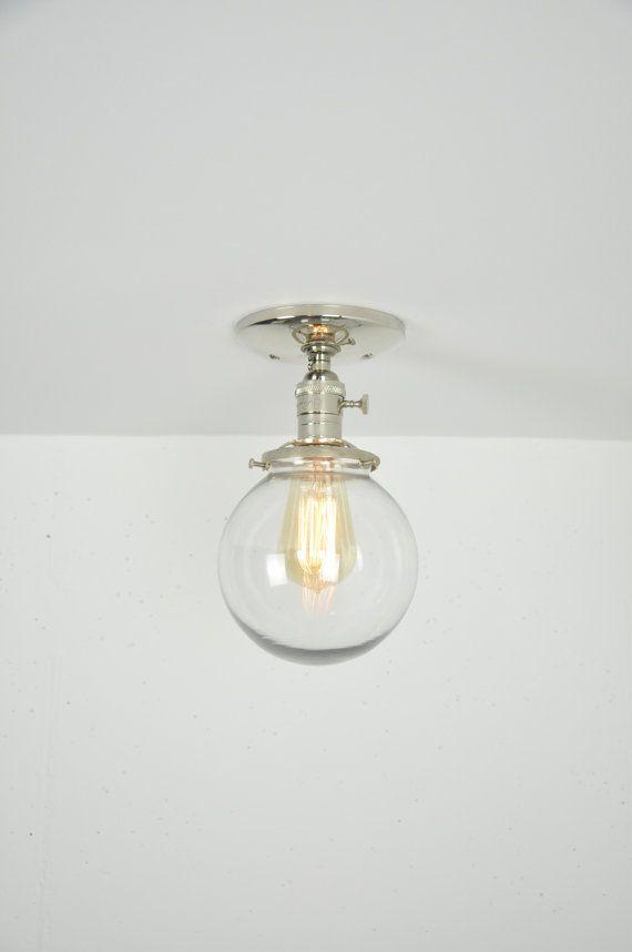 6 inch glass globe polished nickel semi flush mount light fixture 6 inch glass globe polished nickel semi flush mount light fixture aloadofball Images