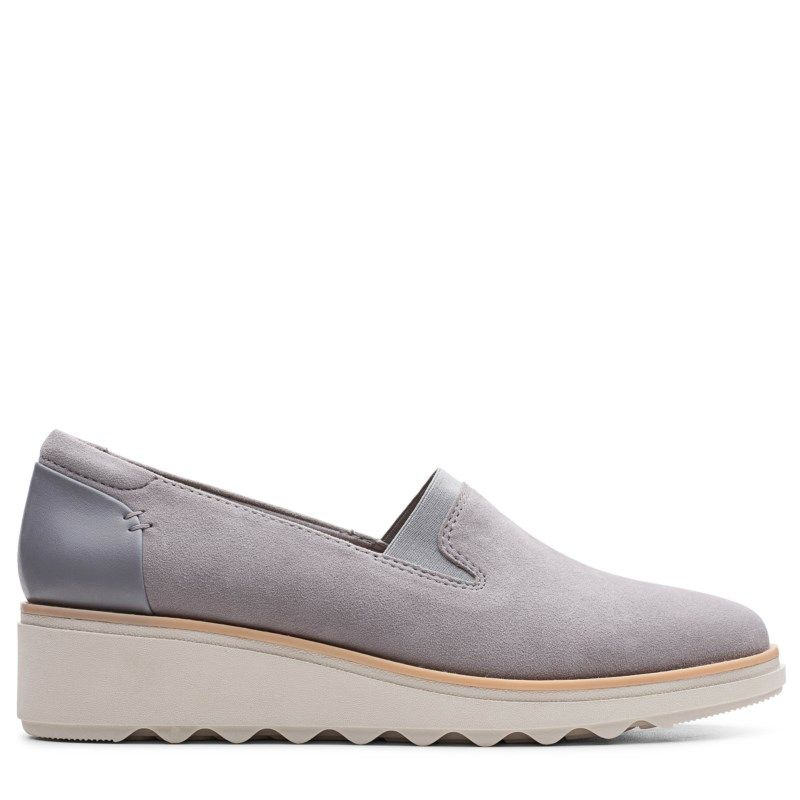Clarks Women's Sharon Dolly Slip On Wedge Shoes (Grey Suede)