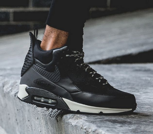 nike men's air max 90 sneakerboot wntr black leather