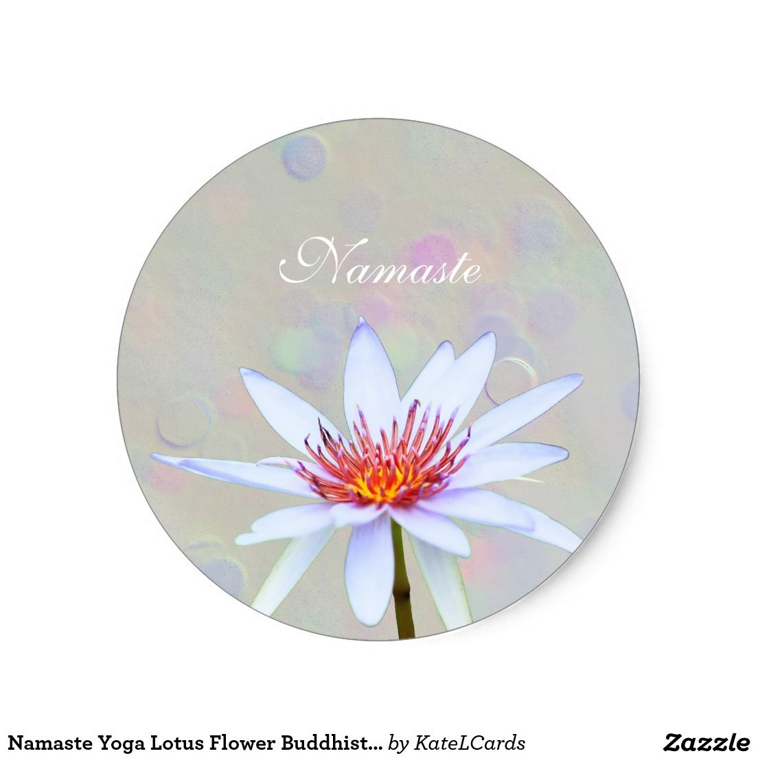 Namaste Yoga Lotus Flower Buddhist Vegan Classic Round Sticker