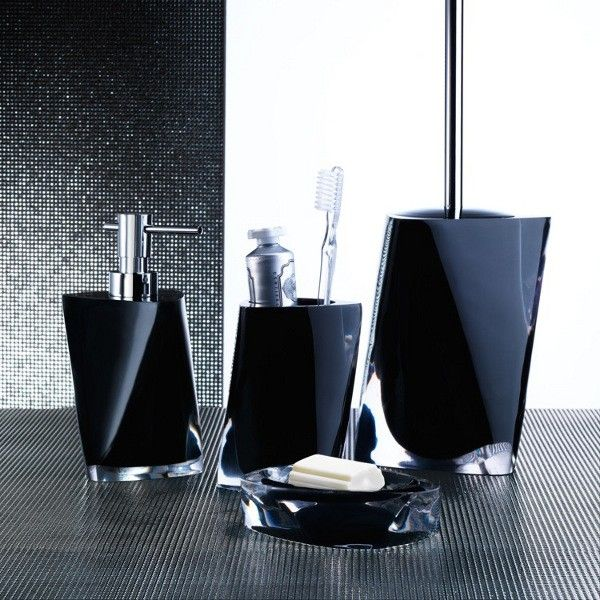 Charmant Twist Black Bathroom Accessory Set Twist Black Bathroom Accessory Set  Includes: Soap Dish Toothbrush Holder Soap Dispenser Toilet Brush Holder  Made Out Of ...