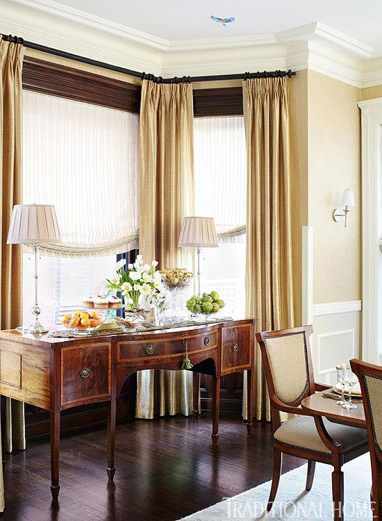 Antique English Sideboard Baker Table And Century Chairs In An Elegant Dining Room Walllcovering Is By Maya Romanoff