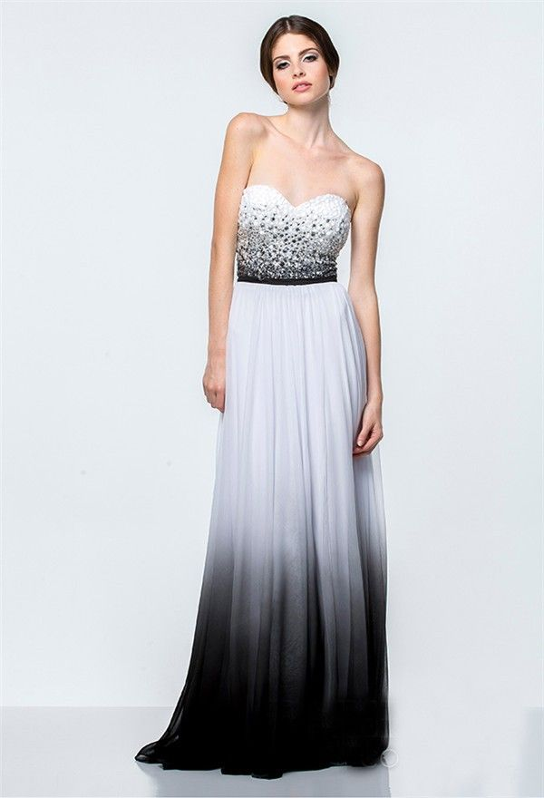 A Line White And Black Ombre Chiffon Beaded Long Evening Prom ...