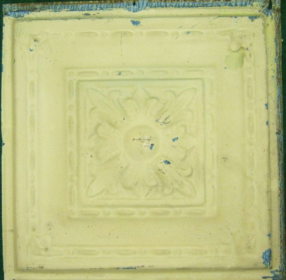 Antique Tin Ceiling Tile 12x12 Metal Yellow Flower S1159 13 16 99 Via Etsy Antique Tin Ceiling Tile Tin Ceiling Tiles Tin Ceiling