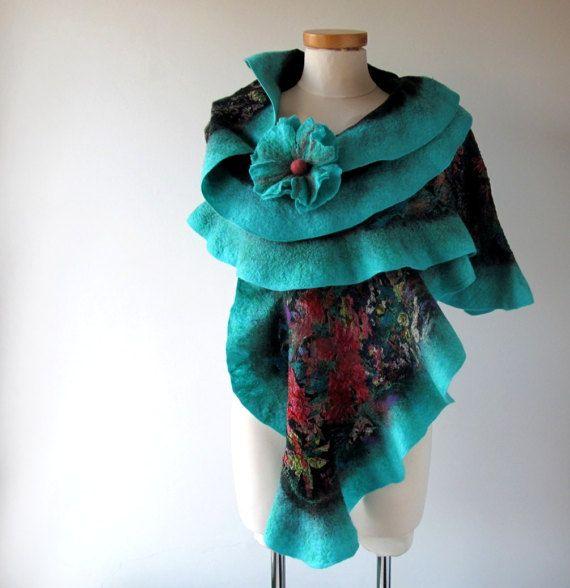 ab82b6282252 Felted scarf, Floral felt scarf, Ruffle felted scarf, Wool Floral ...