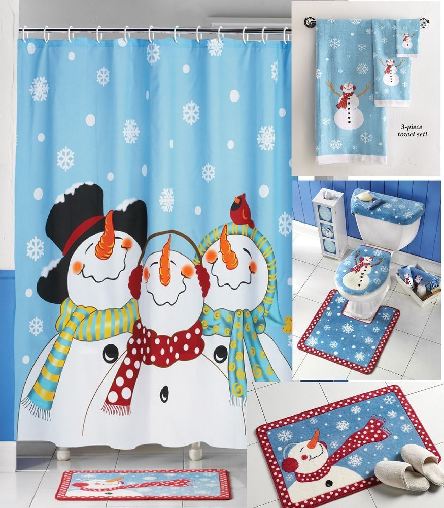 New 8pc Winter Snowman Fabric Shower Curtain Set Holiday Bath Rug Commode Towel