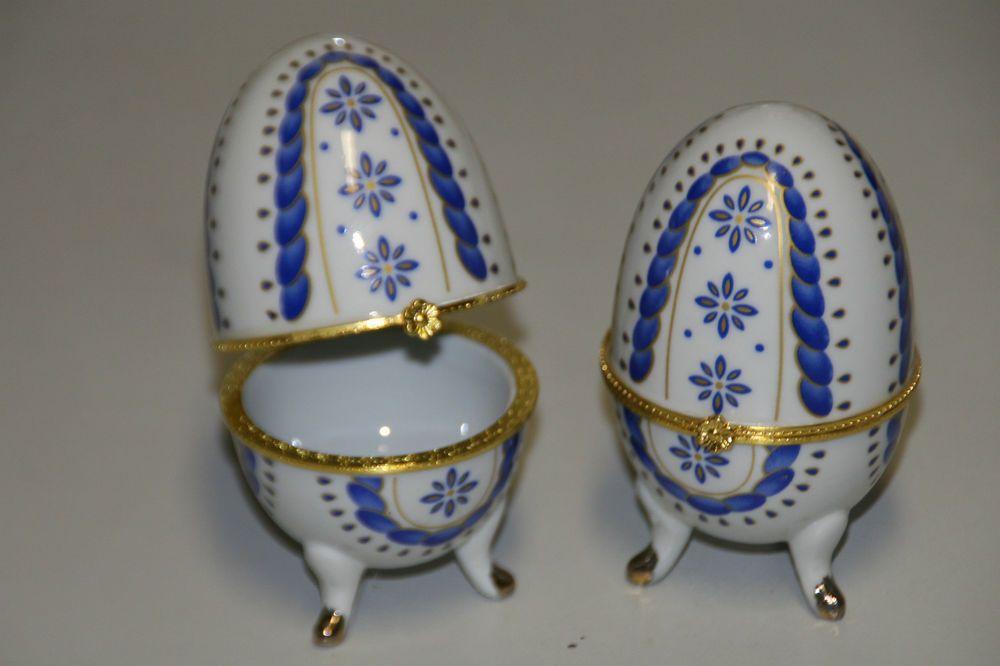 Schmuckdose, Porzellan Ei,  Glanzlack mit  Klappvorrichtung Höhe 10 cm