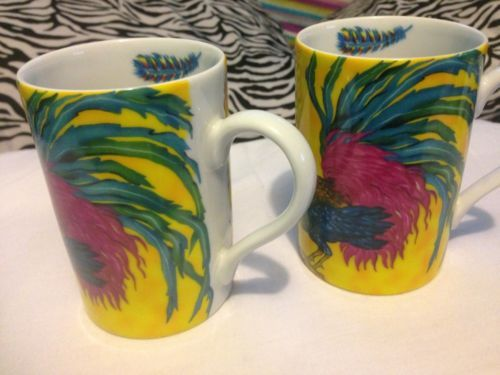 Beautiful  Rare Rooster  Konitz Made Exlusively For Bonjour Mugs Set Of 2