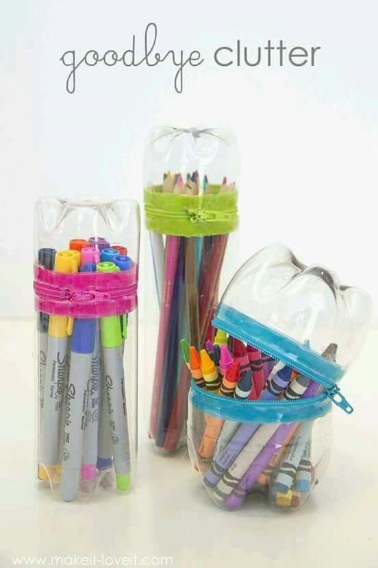 Stationery storage made from plastic bottles creative for Things to do with plastic bottles