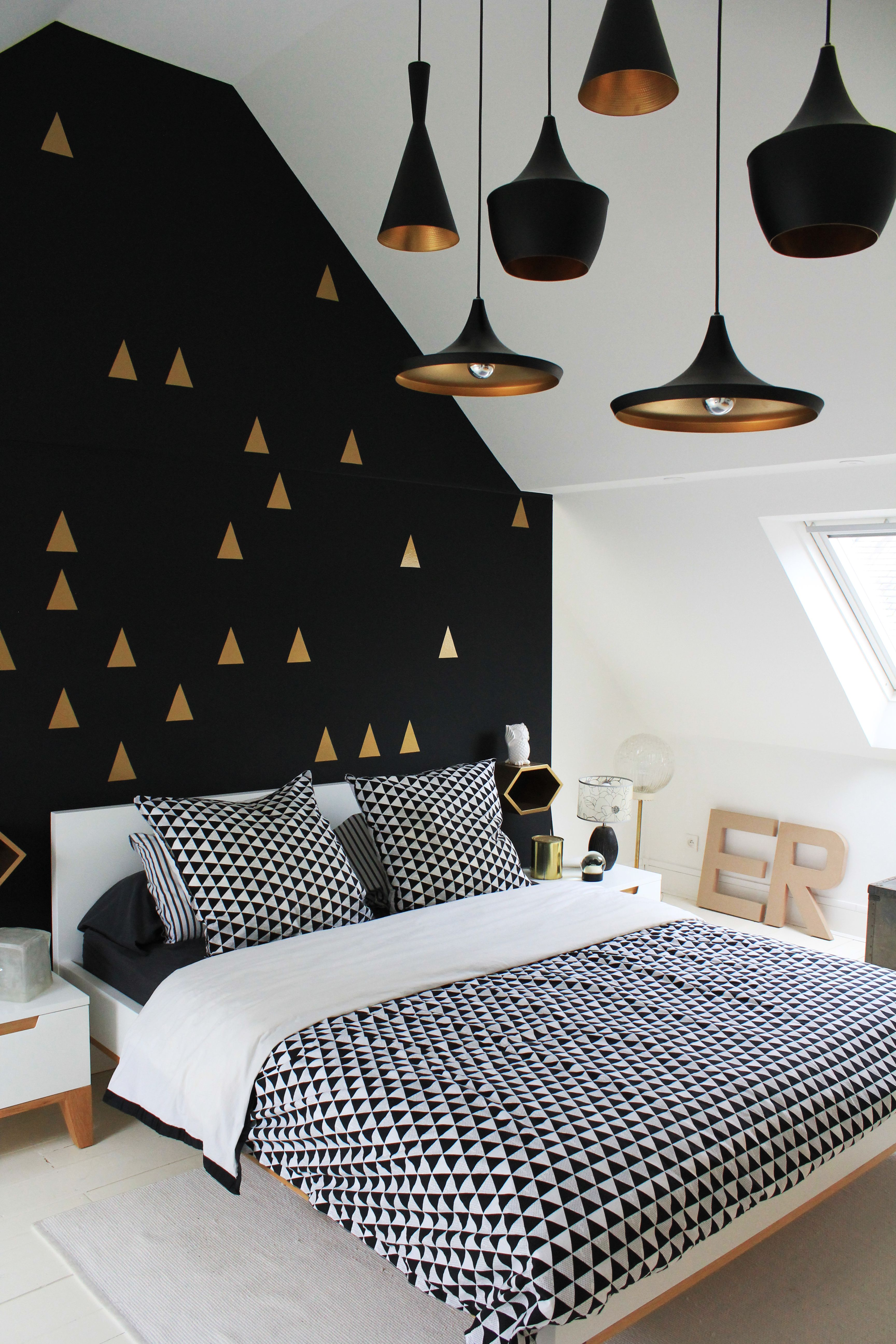 Bedroom White gold and black interior Love the wall and the