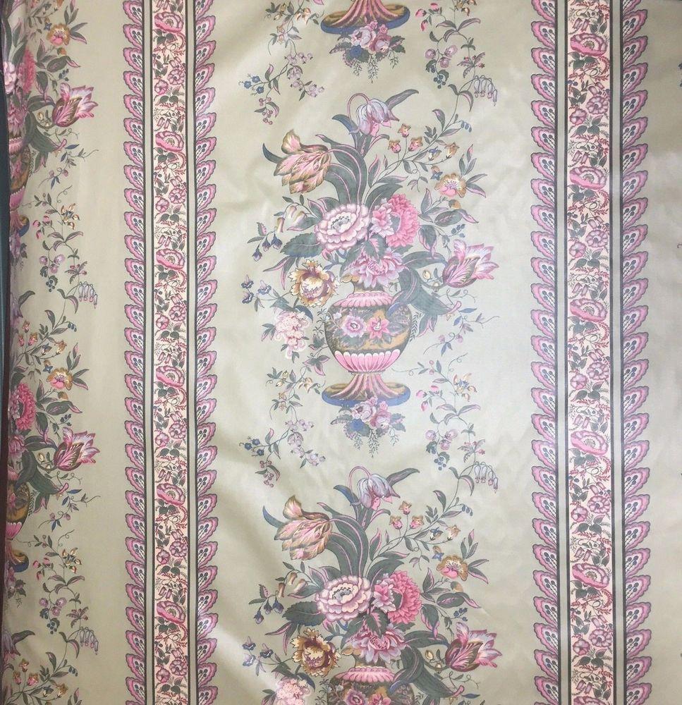 MCM Stripe Floral Pink & Green Wallpaper Print Chintz