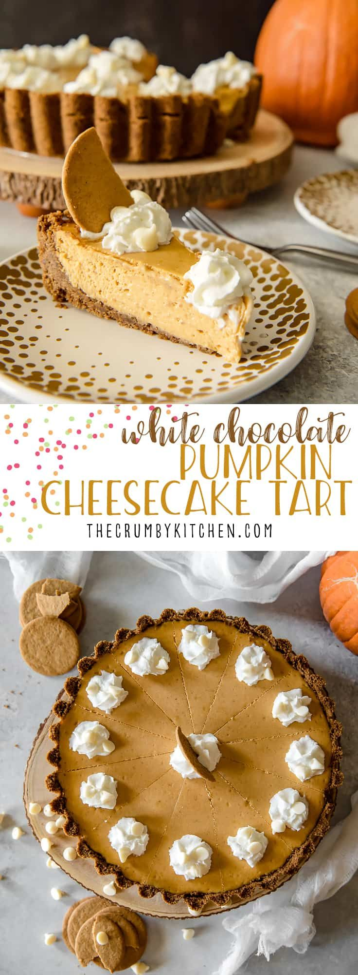 Present That Traditional Pumpkin Pie In A More Festive Way With This White Chocol Chocolate Pumpkin Tart Pumpkin Cheesecake Recipe Easy Pumpkin Recipes Dessert