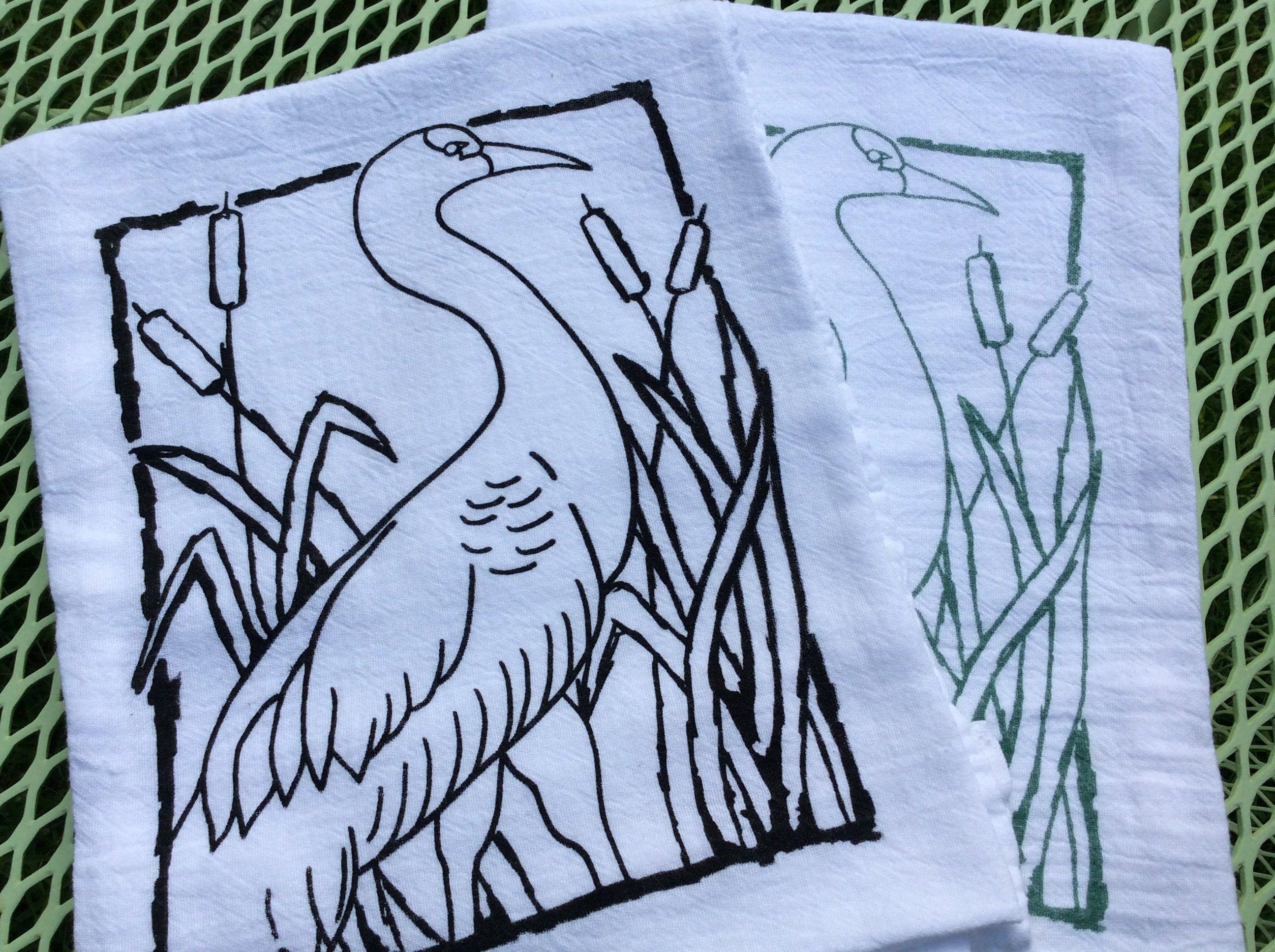 Sandhill Crane Kitchen Dish Towel - Screen Printed - Cotton Flour Sack Towel - Hand Tea Towel - Animal Towels - Flour Sack Dish Towel - Gift #dishtowels