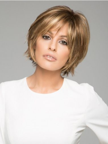 "Straight Brown Short 6"" Synthetic Lace Wigs Coiffure"