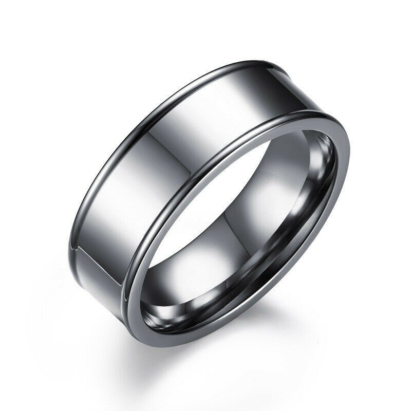 Stainless Steel Matte Finished Concave Wedding Band Ring