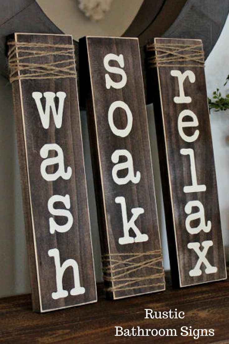Wash Soak Relax Rustic Wooden Bathroom Signs Great Decor For
